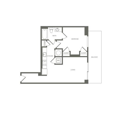 609 square foot one bedroom one bath apartment floorplan image