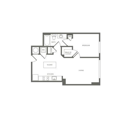 648 square foot one bedroom one bath apartment floorplan image