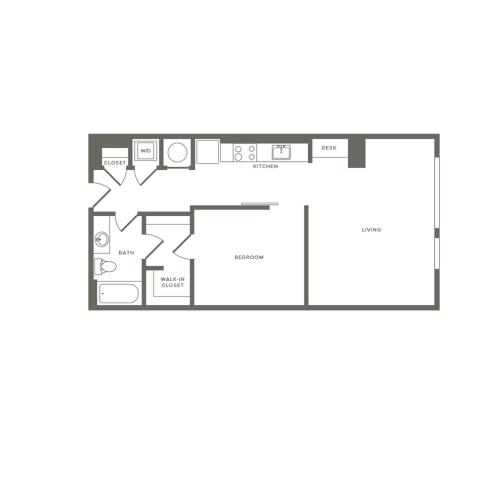 760 square foot one bedroom one bath apartment floorplan image