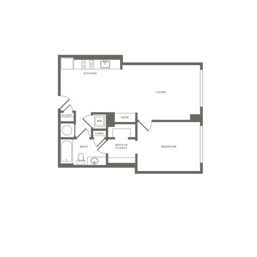 731 square foot one bedroom one bath apartment floorplan image