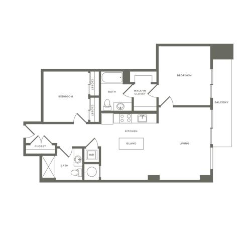 1084 square foot two bedroom two bath apartment floorplan image