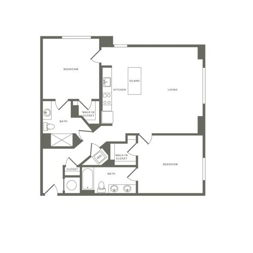 1222 square foot two bedroom two bath apartment floorplan image
