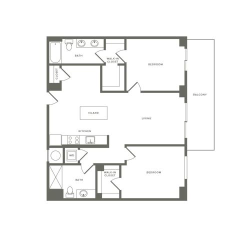 1118 square foot two bedroom two bath apartment floorplan image