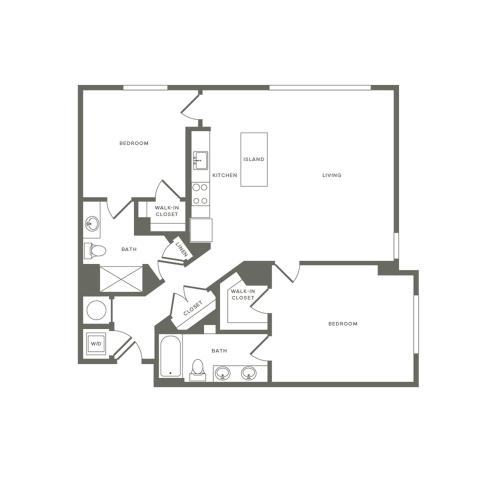 1204 square foot two bedroom two bath apartment floorplan image