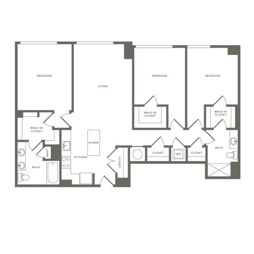 1372 square foot three bedroom two bath apartment floorplan image