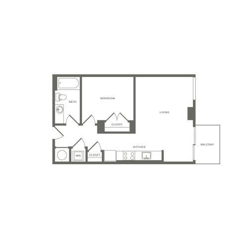 590 square foot Junior one bedroom one bath apartment floorplan image