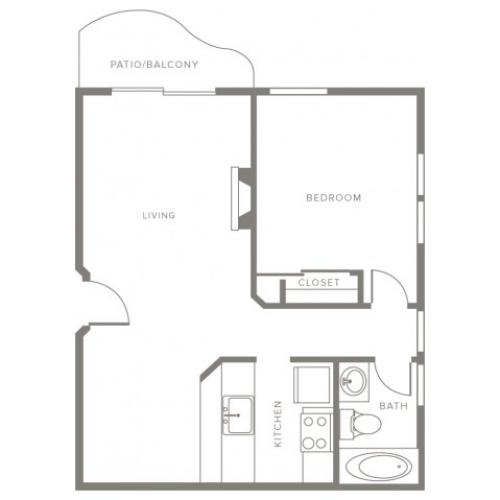700 square foot one bedroom one story apartment home floor plan