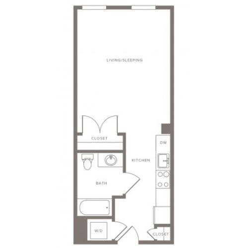 475 square foot studio one bath floor plan image