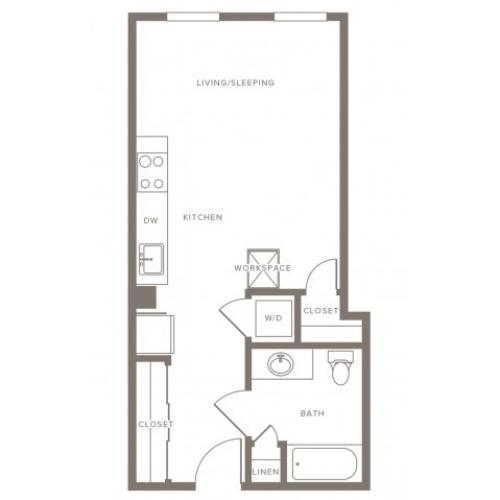 460 square foot studio one bath floor plan image