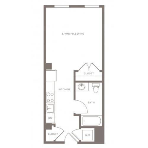 446 square foot studio one bath floor plan image
