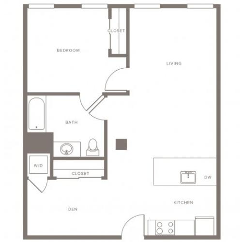 805 square foot one bedroom one bath with den apartment floorplan image