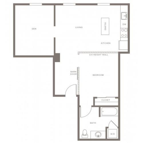 740 square foot one bedroom one bath with den apartment floorplan image