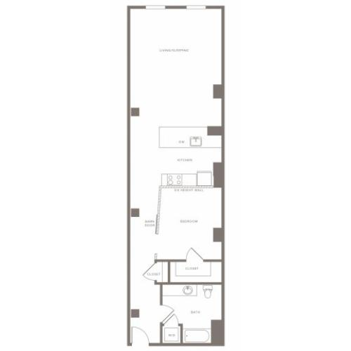 965 square foot one bedroom one bath apartment floorplan image