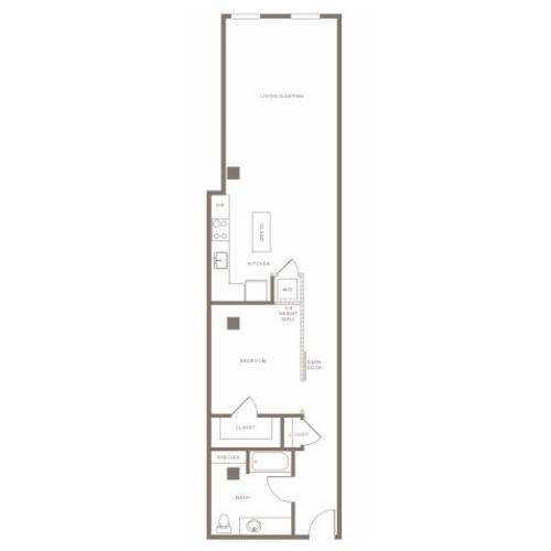 936 square foot one bedroom one bath apartment floorplan image