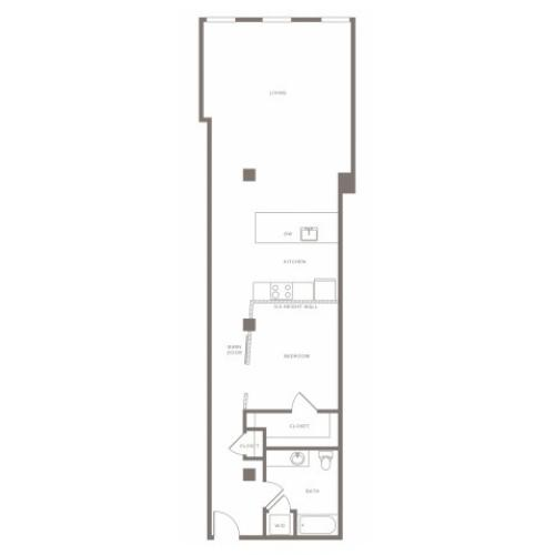 1030 square foot one bedroom one bath apartment floorplan image