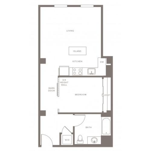 710 square foot one bedroom one bath apartment floorplan image