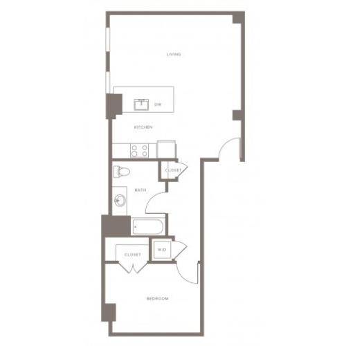 750 square foot one bedroom one bath apartment floorplan image