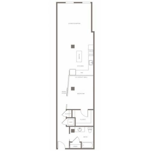 980 square foot one bedroom one bath apartment floorplan image