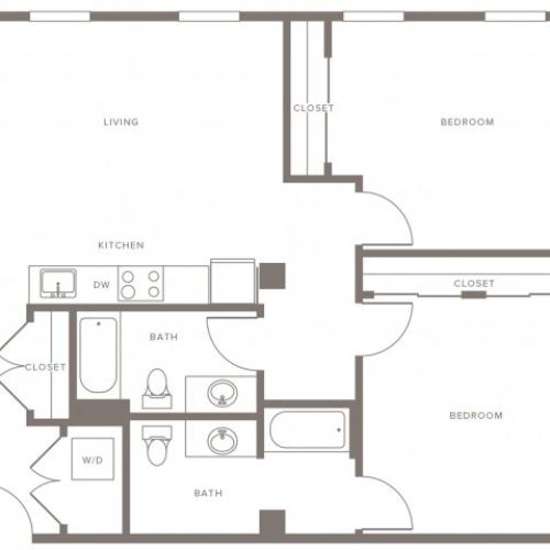 1062 square foot two bedroom two bath apartment floorplan image
