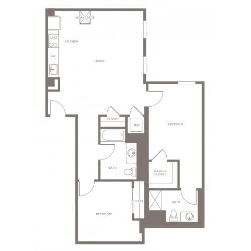 1070 square foot two bedroom two bath with galley kitchen apartment floorplan image