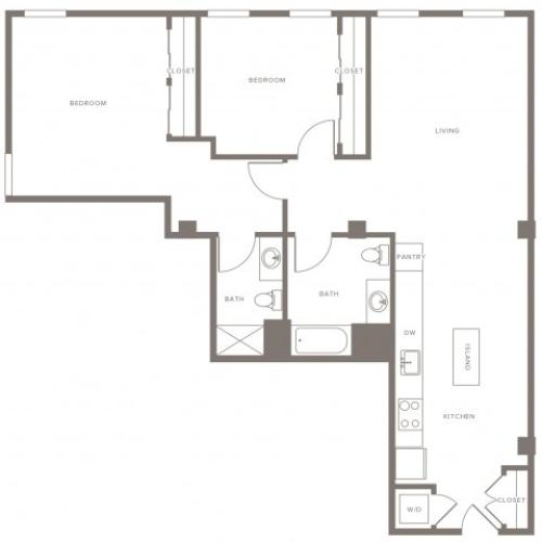 1180 square foot two bedroom two bath apartment floorplan image