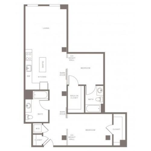 1070 square foot two bedroom two bath with L shaped kitchen apartment floorplan image
