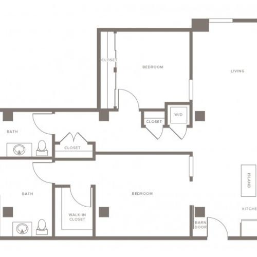 1218 square foot two bedroom two bath apartment floorplan image
