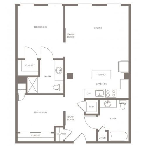 947 square foot two bedroom two bath apartment floorplan image