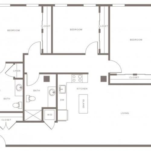 1472 square foot three bedroom two bath floor plan image