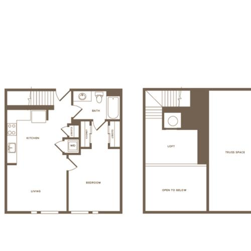 922 square foot one bedroom one bath loft apartment floorplan image