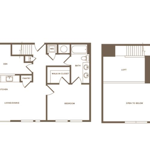 987 square foot one bedroom one bath with den and loft apartment floorplan image