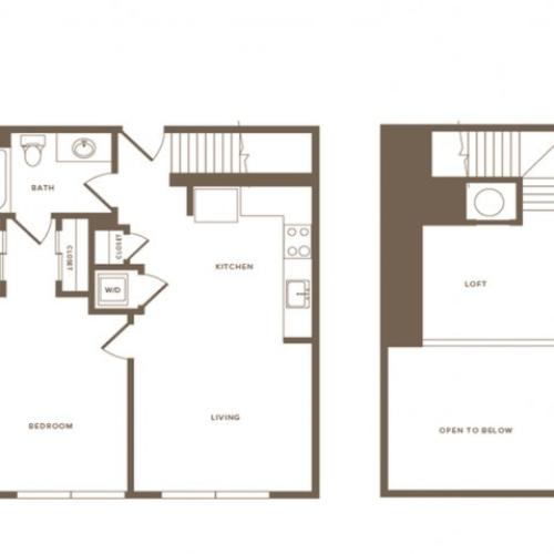 798 square foot one bedroom one bath loft apartment floorplan image