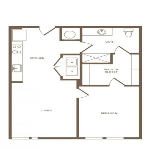 805 square foot one bedroom one bath apartment floorplan image