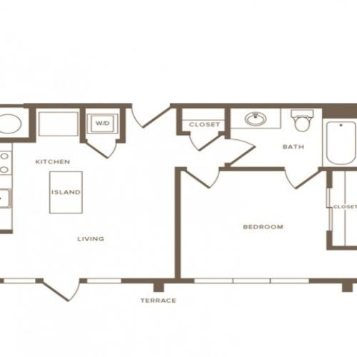 567 square foot one bedroom one bath apartment floorplan image