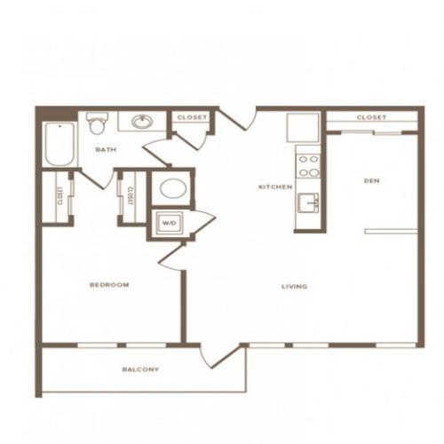 811 square foot one bedroom one bath with den apartment floorplan image