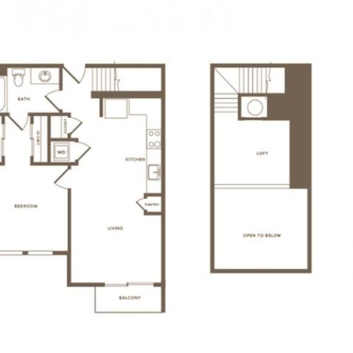 814 square foot one bedroom one bath loft apartment floorplan image