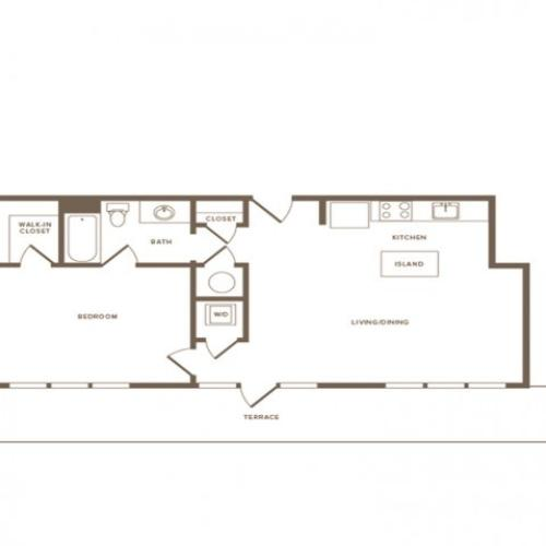 806 square foot one bedroom one bath apartment floorplan image