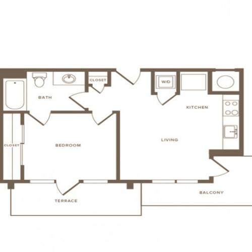 561 square foot one bedroom one bath apartment floorplan image