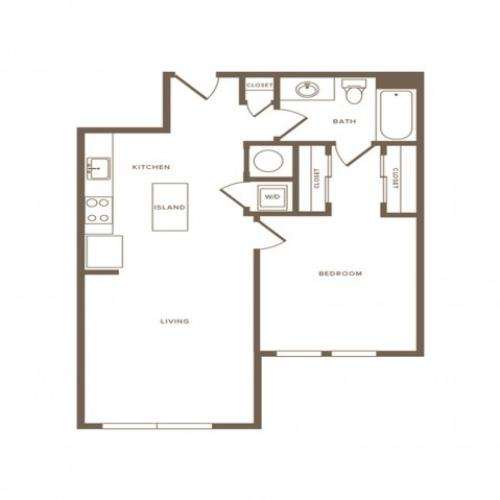 786 square foot one bedroom one bath apartment floorplan image