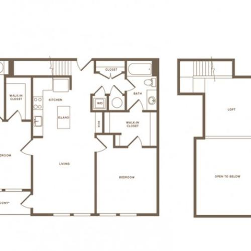 1302 square foot two bedroom two bath loft apartment floorplan image