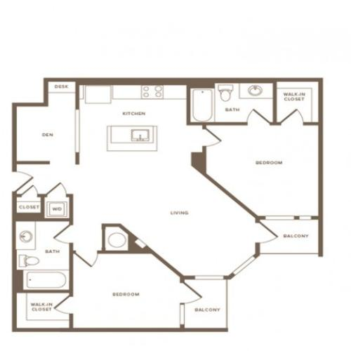 1168 square foot two bedroom two bath apartment floorplan image