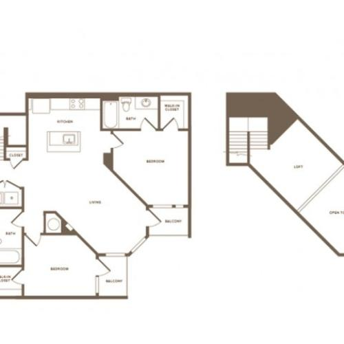 1316 square foot two bedroom two bath loft apartment floorplan image
