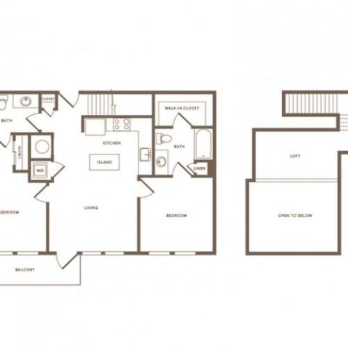 1092 square foot two bedroom two bath loft apartment floorplan image