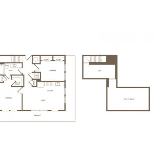 996 square foot two bedroom two bath loft apartment floorplan image