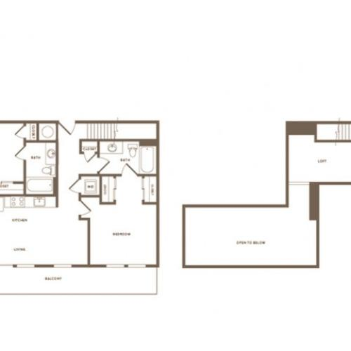 1137 square foot two bedroom two bath loft apartment floorplan image
