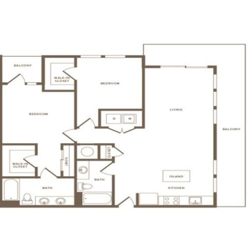 1184 square foot two bedroom two bath apartment floorplan image