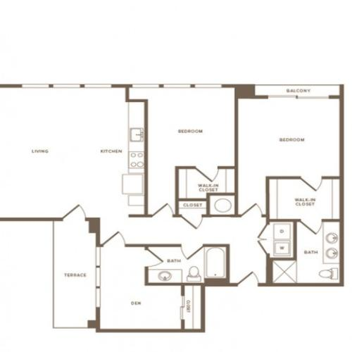 1375 square foot two bedroom two bath apartment floorplan image
