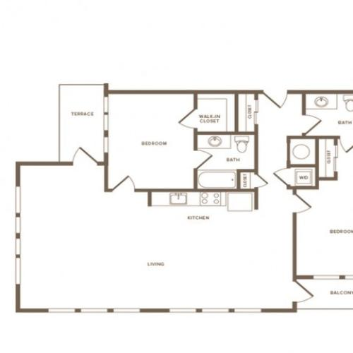 1359 square foot two bedroom two bath apartment floorplan image