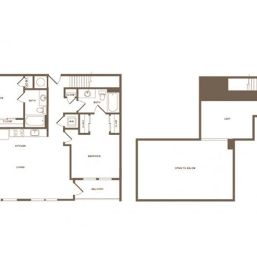 1305 square foot two bedroom two bath loft apartment floorplan image