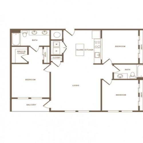 1330 square foot three bedroom two bath apartment floorplan image